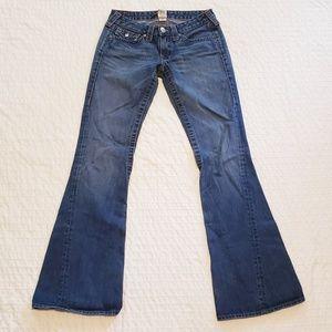 True Religion Joey Woodstock Flare Jeans Sz 28